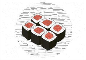 Freie Hand gezeichnet Vektor Sushi Illustration