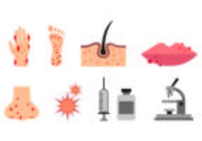 Set von Dermatologie Icons vektor