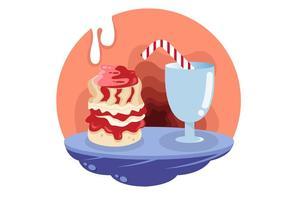 Scone och mjölk måltid vektor