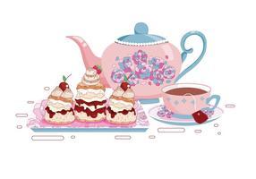 Ställ av te koppar och Scone vektorer