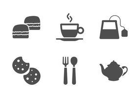 Tee-Zeit-Vektoren mit Scones und Cookies