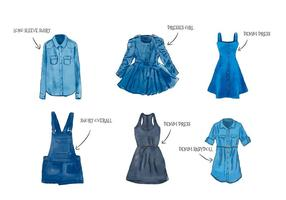 Feminine Aquarell Blue Jean Clothes Set Kollektion vektor