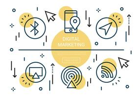 Freie flache lineare digitale Marketing-vektorelemente vektor