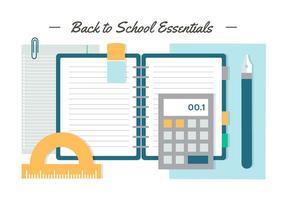 Free Flat Design Vektor Zurück zu Schule Essentials