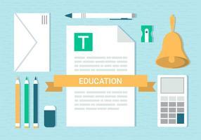 Free Flat Design Vektor Schule Elemente Illustration