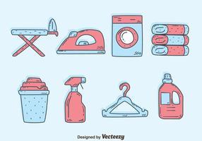 Handdragen tvätt element vektorer