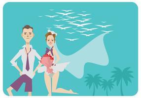Strand Bröllop Med Bikini Klänning Vector