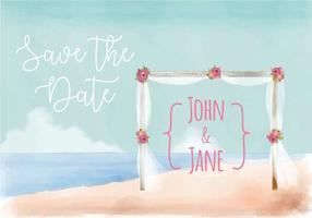 Strand-Hochzeits-Einladung Aquarell-Vektor