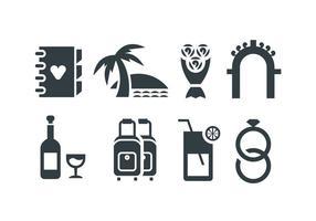 Strand Hochzeit Vektor Symbole