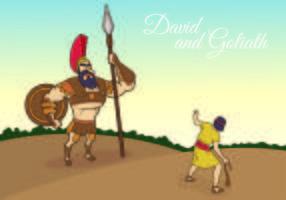 Vektor illustration av David och Goliath