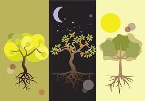 Tag und Nacht Baum mit Wurzel Vektoren