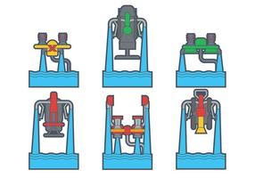 Vatten jetpack vektor uppsättning