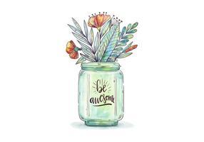 Aquarell-Glas mit botanischen Blumen und Blätter mit Motiv-Zitat