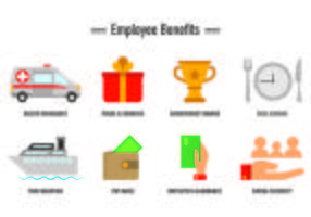 Set of Employee Benefits Ikoner vektor