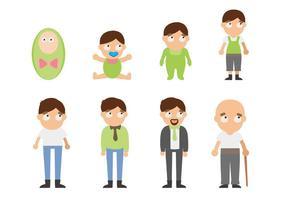 Free Man Lifecycle Von der Geburt zum Alter Vektor