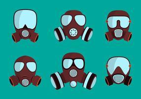 Sats av gasmasker andningsskydd vektor