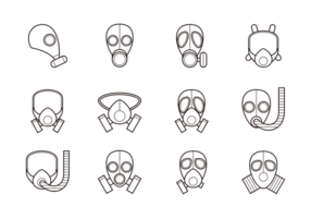 Atemschutz Icons Vektor