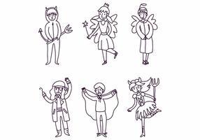 Kinder mit Kostümen vektor