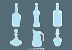 Skissa blå glas dekanter samling vektor