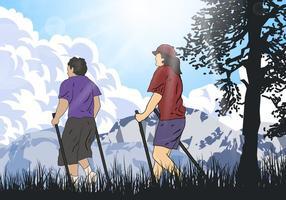 Nordic Walking Team Vektor
