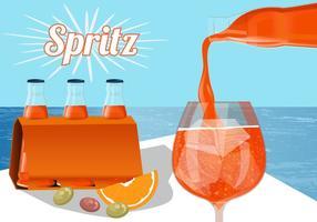 Erfrischende Orange Spritz In Flasche Vektor