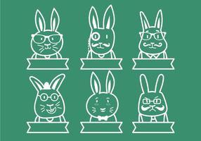 Hipster påskkanin illustration uppsättning
