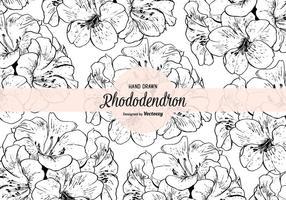 Handdragen Rhododendron Vector sömlös mönster