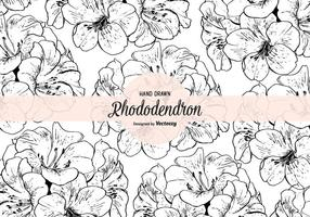 Handgezeichnetes Rhododendron Vektor Nahtloses Muster