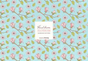Färgade Handdragen Blossom Branches Seamless Pattern vektor