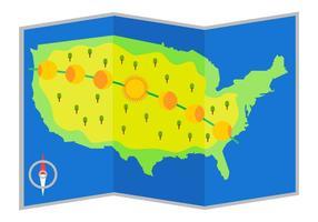 Gratis Vacker US Solar Eclipse Path Map Vector