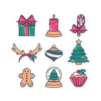 Weihnachtsartikel Icon Set vektor