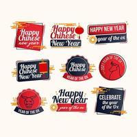 kinesiska nyårsetiketter vektor