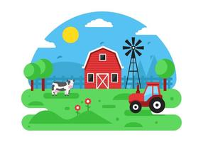 Free Farm Szene Vektor Hintergrund