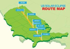 USA Total Solar Eclipse Ikoner vektor