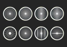 Högtalare grill ikon vektor uppsättning