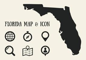 Florida karta och ikon vektor