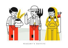 Bonde Farming Outfits Karaktär Vektor Illustration