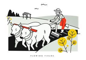 Bonde flödande fält med Buffalo Vector Illustration