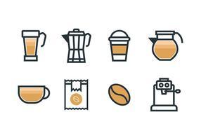 Kaffebryggare sätter ikoner vektor