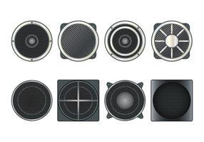 Lautsprecher Grill Vektor Symbole gesetzt