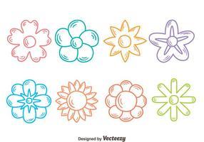 Skissa blommor samling vektor