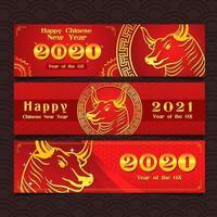 kinesisk ny ox år 2020 banner vektor