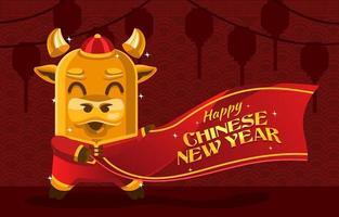 söt ox för kinesiskt nyår vektor