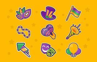 klistermärkepaket med mardi gras festival