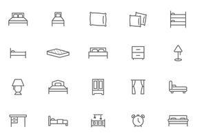 Gratis säng- och nattvektorer vektor
