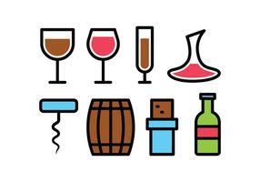 Wein Icon Set