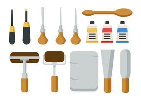 Kostenlose Lithographie Werkzeuge Icons Vektor