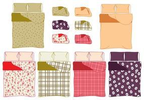Sängkläder och linnemall och provmönstervektorer