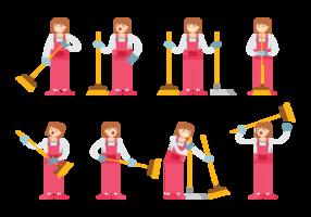 Mädchen Sweeps Cartoon Vektor