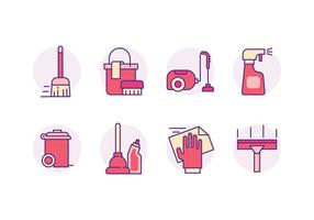 Reinigungswerkzeuge Icons vektor